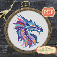 Mandala Dragon - Modern Cross stitch PDF Pattern - Zentangle animals - 041