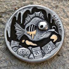 Hobo Nickel Radioactive Contamination hand carved 1936 buffalo coin w 24K gold