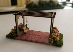 1:144 Miniature Pergola with swing and decorative Flower Bushes on each side