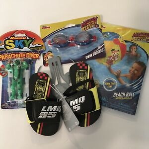Swim Goggles , Cars Sandals Size 7 -8  Mickey Beach Ball And Parachute Bundle