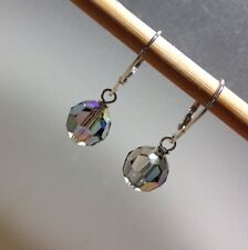 Sterling Silver Authentic Swarovski Crystal Elements Leverback Earrings 5000 10m