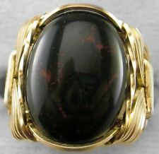 Bloodstone Gemstone Ring 14k Gold gf Mens or Ladies Regular Band