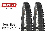 "PAIR (2PCS) OF PRO-AIR ECONOMY CYCLE TYRES 26"" x 2.10"" - KNOBBLY MTB HYBRID BIKE"