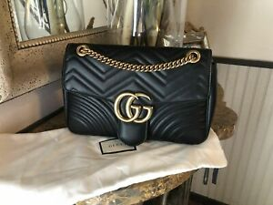 //Gucci GG Handbag Marmont 2.0 Medium Quilted Black Shoulder Bag