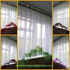 Beautiful White Crushed Voile Net Curtain with Lace Guipure in Various Colours