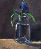Hydrangea blue Flower in glass Oil painting 8x9.6 in 20x24cm Still Life Realism