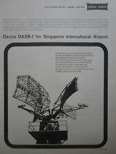 6/1962 PUB DECCA RADAR DASR-1 SINGAPORE INTERNATIONAL AIRPORT ORIGINAL AD