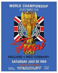 1966 England World Cup Poster of Championship Game Program - 8x10 Color Photo