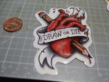 DRAW OR DIE HEART NEW STICKER DECAL SKATEBOARD PHONE GLOSSY