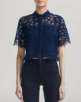 WHISTLES Camilla Navy Blue Corded Lace Cropped Blouse Sz 10 Short Slvs Pretty