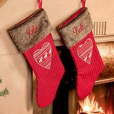Personalised Christmas Stockings Set of 2 - Luxury Nordic Heart Fake Fur Trim
