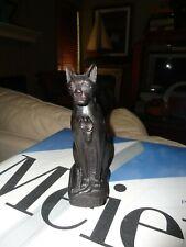 EGYPTIAN CAT SCULPTURE WOOD CARVED STATUE ART VINTAGE FIGURINE