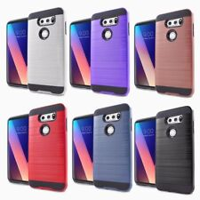 For LG V30 - HYBRID HARD TPU RUBBER BRUSHED SILK ARMOR PHONE CASE SKIN COVER