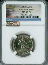 2016-S FORT MAULTRIE QUARTER NGC MAC MS66 PL PQ 2ND FINEST GRADE SPOTLESS .