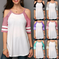 Women Short Sleeve Blouse Cold Shoulder Casual Top Sports Loose T Shirts Summer