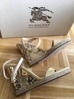 Neu original Burberry Sandalen Wedges High Heels Gold Beige Sandals Echt Leder