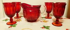 BEVERAGE SET 5  NORITAKE EMBER RED GOBLETS & IMPERIAL RUBY PITCHER - GEORGEOUS