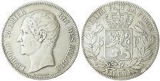 BELGIQUE  LEOPOLD  I°  ,  5  FRANCS  ARGENT  TETE  NUE  1850 , POINT SUR LA DATE