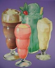 Original 1950s American Diner Paper Die Cut Signs - Soda/Floats/Shakes - Lot A