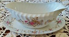 VERY EXCELLENT Mikasa CARNATIONS (pink) GRAVY BOAT WITH ATTACHED UNDER PLATE