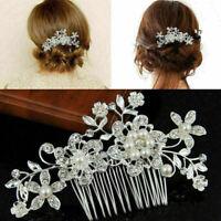 Wedding Bridal Flower Hair Comb Diamante Crystal Rhinestone Slide Jewe Clip S9T8