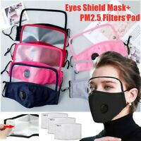 Reusable Cotton Eyes Shield Face Masks With Air Breathing Valve + PM2.5 Filters