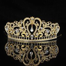 Bridal Pageant Golden & Clear  Austrian Crystals Tiara Prom Quinceanera Sweet 16