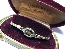 Vintage Ladies Mechanical Malden Wrist Watch w/ Original Velvet Box - Rare