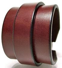 "LEATHER CUFF Wristband 2"" BROWN BADASS Made in NYC by MATARA Rock USA Bracelet!"