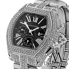 23.00Ct Diamond Cartier Roadster XL W62020X6 Black Dial Stainless Steel Watch