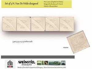 Henri Van de Velde original Art Nouveau Majolica c1900 ceramic tile set 5 pcs