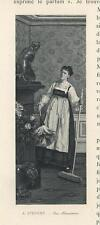 ANTIQUE ALSACE WOMAN COSTUME DRESS HOUSEKEEPER ARTISTIC NUDE STATUE SMALL PRINT