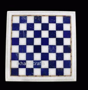 15 Inches Square Marble Coffee Table Top Elegant Look Chess Board table for Kids