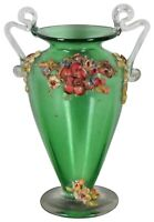 Vintage Green Art Glass Handled Footed Trophy Bud Vase Ceramic Flowers 4.5""