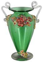"Vintage Green Art Glass Handled Footed Trophy Bud Vase Ceramic Flowers 4.5"""
