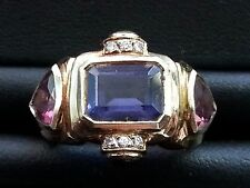 14K YELLOW GOLD DIAMOND & MULTI COLOR STONES RING NOT FOR SCRAP SIZE 5.25