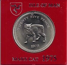 IOM Isle of Man Manx 1975 QE II 1 Crown 25p  Manx Cat uncirculated cased