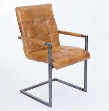 Schwingstuhl Freischwinger Design Echt Leder Vintage Kassel Hellbraun Armlehne