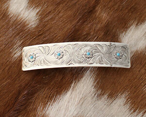 Western Womens Silver Engraved w Turquoise Hair Barrette Horse Show