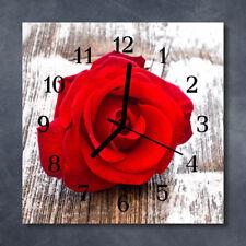 Glass Wall Clock Kitchen Clocks 30x30 cm silent Rose Red