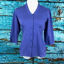 Arcteryx Womens Size Small Purple Plaid Button Down V Neck 3/4 Sleeve Blouse Top