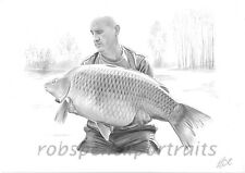 Hand Drawn FISHING PORTRAIT By Angling Artist Robin Woolnough Bespoke Gift