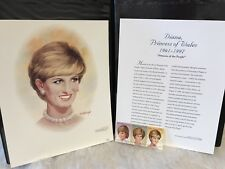 Portrait Diana Princess of Wales Fleetwood Signed Tom McNeely Stamp Set