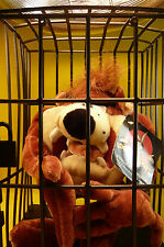 "LOONEY TUNES PLUSH TAZ IN A CAGE-9"" Tall-6 1/2"" Wide-4 1/2"" Deep-Six Flags-Tag"