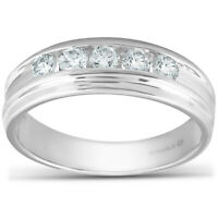 1/2 Ct Diamond Mens Wedding Ring 10k White Gold
