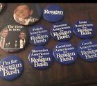OFFICIAL Ronald Reagan for President Ethnic pin & Photo Pins Reagan Bush 10 PCs