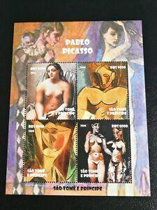 Sellos Santo Tomé .Hoja con 4 sellos del 2005.Nueva  MNH. Picasso