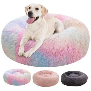 Colorful Comfy Round Pet Bed Dog Cat Shag Warm Fluffy Nest Mattress Donut Pad