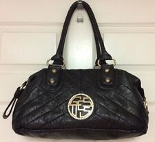 GUESS womens large faux leather satchel tote handbag black rhinestones H26