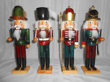 "SET OF 4 ""TRADITIONS"" WOODEN NUTCRACKER 14"" FIGURINES ~ BOW DRUM SPEAR SWORD"